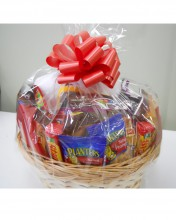 There is a wide variety of everyday treats that can be put into a basket.