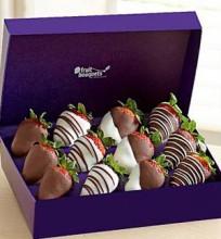Dozen strawberries dipped in chocolate.