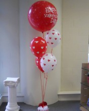 The latex balloons have little hearts on them. Ask us what kind of weights are available.