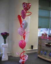 Showing how much you care is easy with this balloon bouquet. It can feature a wide assortment of heart balloons as well as squiggles and latex balloons!! Show them how much you care!!