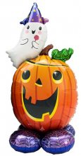 Halloween pumpkin balloon with ghost