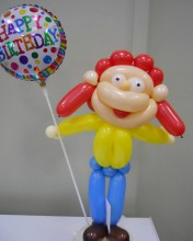 Loodle country girl with happy birthday balloon