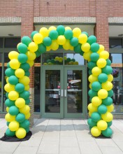 Spiral archways are the perfect way to blend two or more colors and create a super twisted balloon archway.