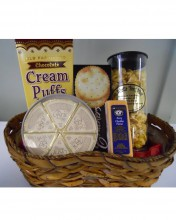 We love these cream puffs and the tube of our gourmet caramel popcorn (which comes in all sorts of flavors!)