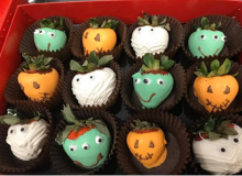 Halloween decorated strawberries