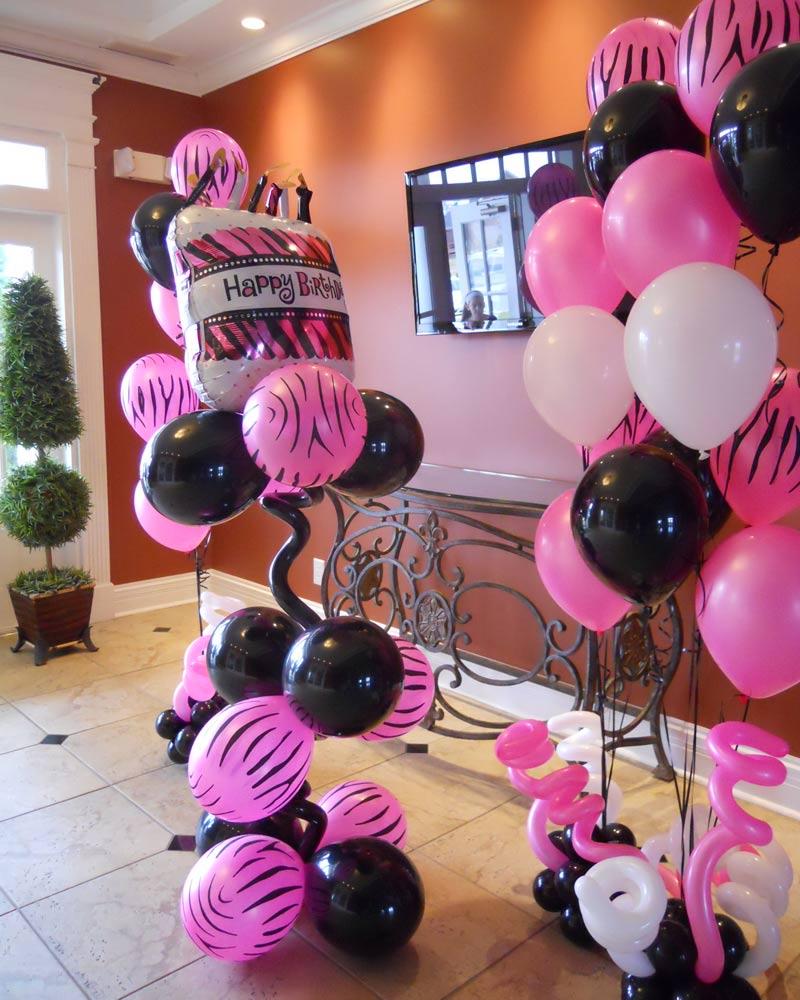 Swell Pink Zebra Balloon Bouquet Interior Design Ideas Clesiryabchikinfo