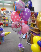 "Let Hello Kitty help celebrate your child's birthday!  You can mix and match a variety of balloons to suit your needs.  Remember, we just want it to be ""purr-fect"" for you."