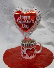 we have lots of different matching sets of mugs and balloons