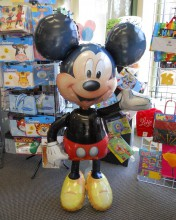 Mickey Mouse comes to life with this balloon!  He's filled with helium and is perfect for a picture booth at kids' birthday parties. Other characters are available too.